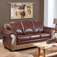 <strong>Verona Furniture</strong> Saddle Me Up Grain Leather Sofa
