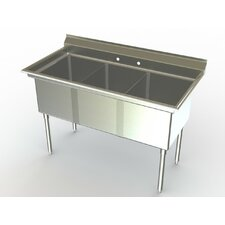 "Deluxe NSF 60"" x 27"" 3 Bowl sink"