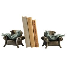 Frogs Reading on Sofa Book End (Set of 2)