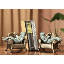 Frogs Reading on Sofa Book Ends (Set of 2)