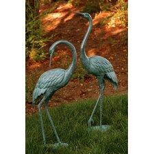 Medium Garden Crane Pair Statue