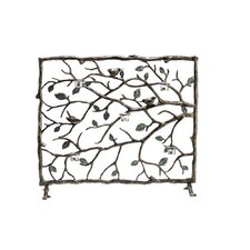 Bird and Branch Aluminum Fireplace Screen