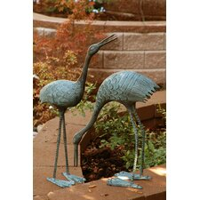 Stately Garden Cranes Statue (Set of 2)