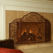 Provincial 3 Panel Iron Fireplace Screen