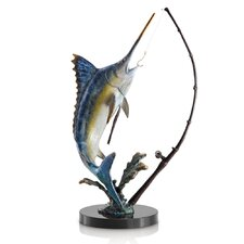 Fighting Marlin with Tackle Statue