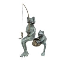 Fishing Frog Mama and Baby Garden Statue