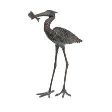 Garden Single Crane Eating Fish Statue