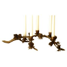 Pinecone Centerpiece Brass Candelabra