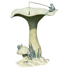 Fishing Frog on Mushroom Bird Statue