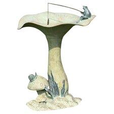 Fishing Frog on Mushroom Bird Statue
