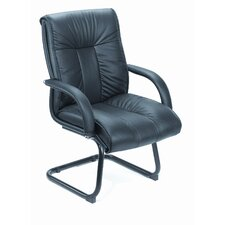 Leather Guest Chair with Upholstered Armrests