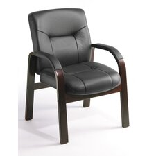 Leather Guest Chair with Hardwood Arms