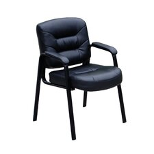 <strong>Boss Office Products</strong> Leather Guest Chair with Polished Steel Legs