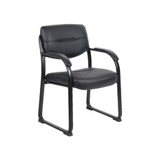 <strong>Boss Office Products</strong> Leather Sled Base Side Chair with Arms