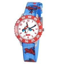 Kid's Spider-Man Time Teacher Watch in Blue with Red Bezel