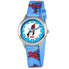 Kid's Spider-Man Time Teacher Printed Strap Watch in Blue