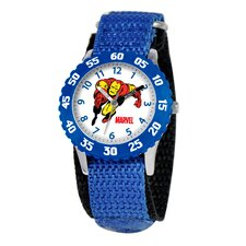 Kid's Iron Man Time Time Teacher Watch in Blue with Blue Bezel