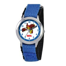 Kid's Iron Man Time Time Teacher Velcro Watch in Blue