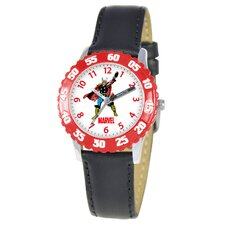 Kid's Hulk Time Teacher Watch in Black with Red Bezel