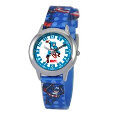Kid's Captain America Time Teacher Printed Strap Watch in Blue