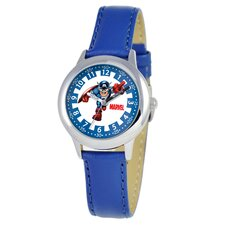 Kid's Captain America Time Teacher Watch in Blue Leather
