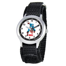 Kid's Captain America Time Teacher Watch in Black