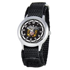 Kid's Military Navy Time Teacher Velcro Watch in Black