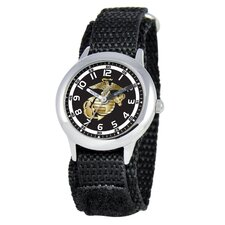 Kid's Military Marines Time Teacher Velcro Watch in Black