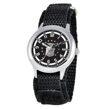 Kid's Military Air Force Time Teacher Velcro Watch in Black