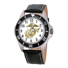 Men's U.S. Marine Corps. Honor Leather Strap Watch
