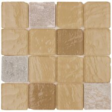 "<strong>Surfaces</strong> Elida Glass 12"" x 12"" Mosaic in Beige Pyramids"