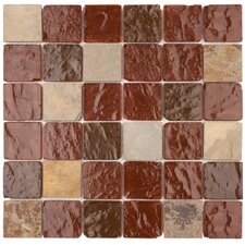 "<strong>Surfaces</strong> Elida Glass 12"" x 12"" Mosaic in Wine Pyramids"
