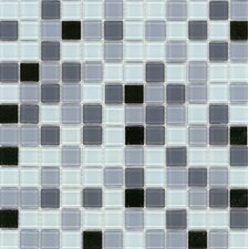 "Elida Glass 12"" x 12"" Mosaic in Silver Multicolor"