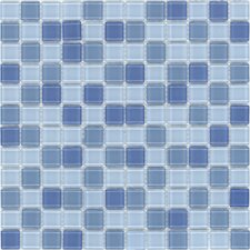 "<strong>Surfaces</strong> Elida Glass 12"" x 12"" Mosaic in Baby Blue Multicolor"