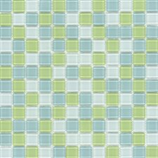 "Elida Glass 12"" x 12"" Mosaic in Lime Multicolor"