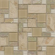 "<strong>Surfaces</strong> Elida Glass 12"" x 12"" Mosaic in Sand Slate"