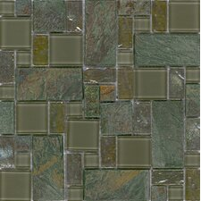 "Elida Glass 12"" x 12"" Mosaic in Verdi Slate"
