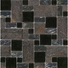 "Elida Glass 12"" x 12"" Mosaic in Onyx Slate"