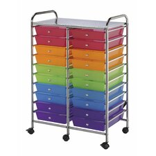 20-Drawer Multi-Colored Mobile Storage Cart