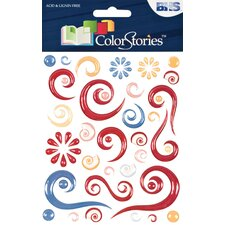 Colorstories Red Story Epoxy Swirl Stickers (Set of 63)