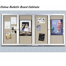 Deluxe Bulletin Board Cabinets - 4 Hinged Doors