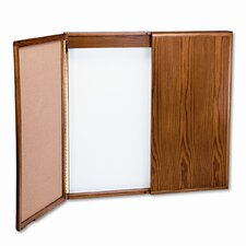 Wood Conference Room Cabinet, Dry Erase/Cork Boards, 48 x 5 x 48, Med Oak