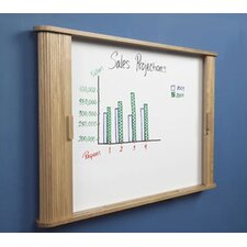 "Tambour Door Enclosed Cabinet 2' 8"" x 3' 8"" Whiteboard"