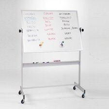 "Deluxe Reversible Porcelain 2'6"" H x 3'4"" L Whiteboard with Wood Frame"