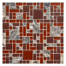 "Sierra 11-3/4"" x 11-3/4"" Polished Glass and Stone Mosaic in Versailles Bordeaux"