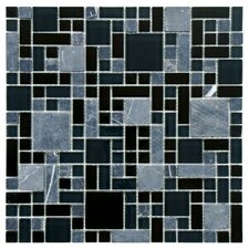 "<strong>EliteTile</strong> Sierra 11-3/4"" x 11-3/4"" Polished Glass and Stone Mosaic in Versailles Bizancio"