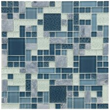 Sierra Random Sized Polished Glass and Stone Mosaic in Versailles Gulf