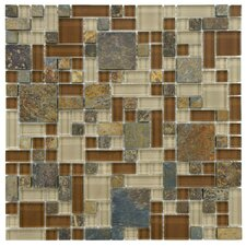 "Sierra 11-3/4"" x 11-3/4"" Polished Glass and Stone Mosaic in Versailles Brixton"