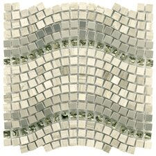 "<strong>EliteTile</strong> Sierra 12-1/4"" x 11-3/4"" Polished Glass, Stone and Metal Mosaic in Wave Mercury"