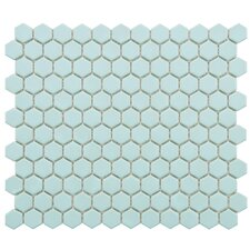 "Retro 7/8"" x 7/8"" Glazed Porcelain Hex Mosaic in Matte Light Blue"